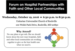Forum on Hospital Partnerships with Faith and Other Local Communities @ Unitarian Universalist Church of Rockville | Rockville | Maryland | United States