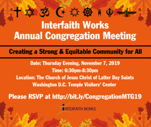 Interfaith Works Annual Congregation Meeting @ The Church of Jesus Christ of Latter Day Saints, Washington D.C. Temple Visitors' Center